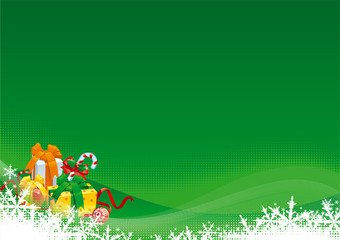 Vector of  gift boxes, snowflakes  and christmas decoration