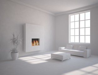 grey interior concept with fire