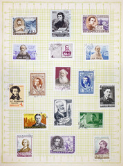 Album page with the old Soviet postage stamps