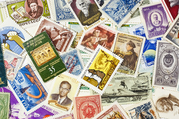background of the old Soviet postage stamps