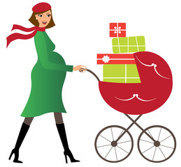 Young woman with baby stroller full of presents