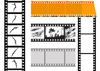 set camera film on white background
