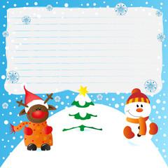 nachricht - weihnachten mit rudolph und dem schneemann
