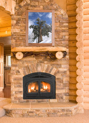Log Cabin Home Interior with Warm Fireplace with wood, flames, a