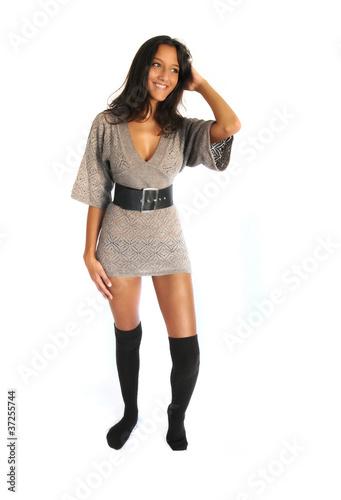 Beautiful Indian Woman Wearing Stockings