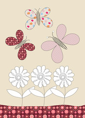 Pretty butterflies and flowers childrens illustration