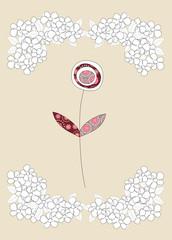 Lovely flower on beige background, illustration