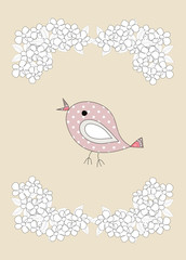 A cute, little birds and flowers, illustration
