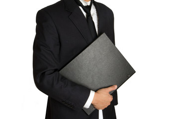 business man with a black cover holder