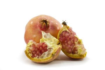 Fototapete - juicy pomegranate fruit on white background