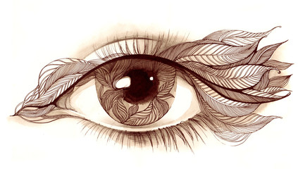 human eye with leafs