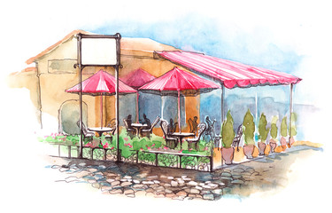 Poster de jardin Drawn Street cafe cafe on terrace