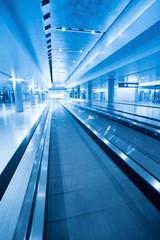 travolator in airport hall