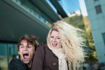 Happy young couple enjoying life