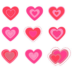 heart valentine's day set.vector illustration.isolated
