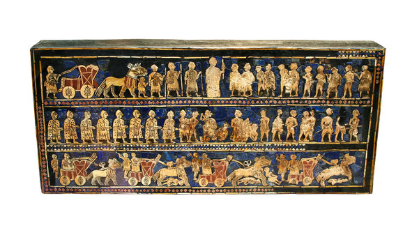 Ancient sumerian artifact known as the Standsrd of Ur