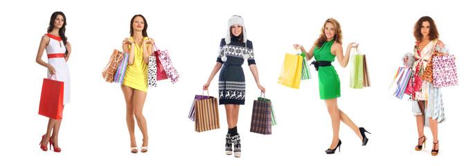 Young beautiful women holding shopping bags