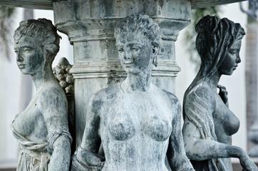 Three women sculpture in ancient Greek pattern