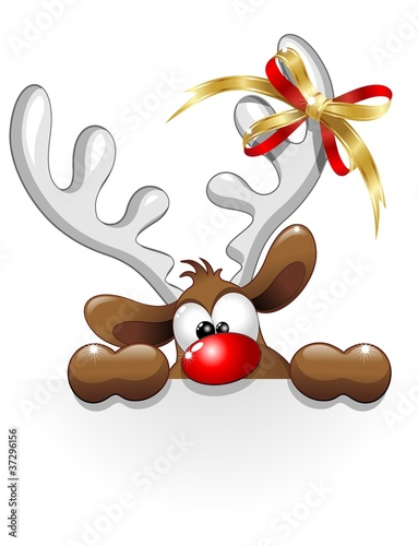Renna buffa divertente cartoon funny reindeer character for Decoration fenetre renne