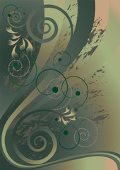 Spiral and stripes on the background with green nuances.Banner..