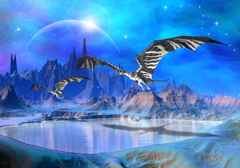 Photo sur Aluminium Dragons Dragons - Fantasy World 02