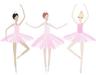 Three graceful ballerinas dance in identical dresses