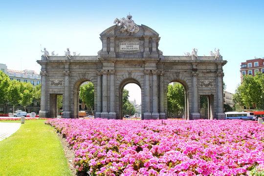 Madrid Puerta de Alcala with flower gardens