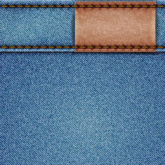 Denim texture with leather label