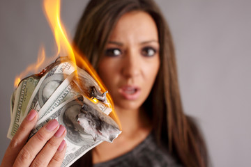 Beautiful woman with money to burn.