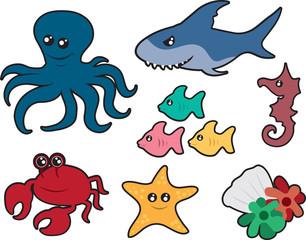 Various ocean creatures