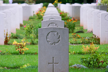 Canadian Soldier WW2 Gravestone Rows in Normandy, France