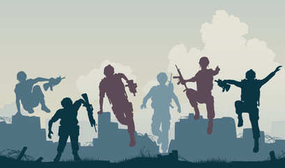 Wall Murals Military Soldiers advance