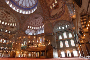 Praying inside the Blue Mosque in Istanbul
