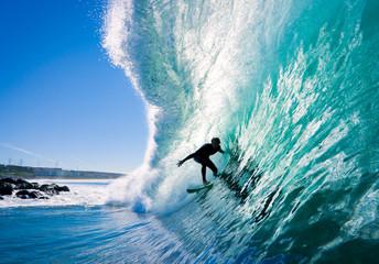 Wall Mural - Surfer on Blue Ocean Wave
