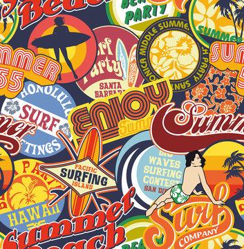 Beach vintage pins seamless pattern