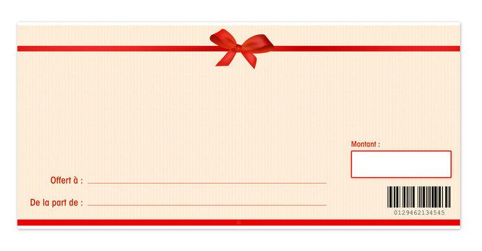 chèque cadeau avec un noeud