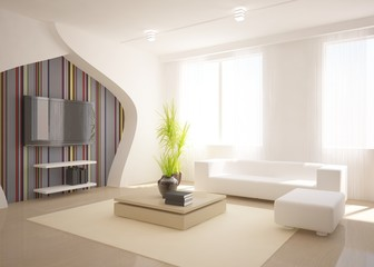 white room with furniture