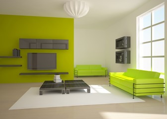green interior in the home