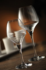 glass on table, close up, shallow dof