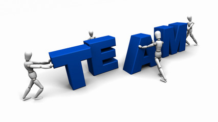 People Pushing Together the Word 'TEAM'