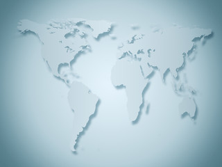 business world map in gray and blue tones
