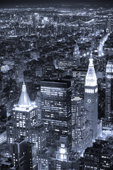 New York City Manhattan skyline aerial view at dusk black and wh