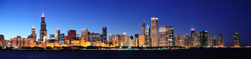 Fotomurales - Chicago night panorama
