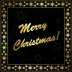 square vector black christmas card with gold frame and decor