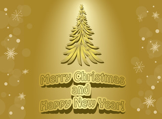 vector golden card -  merry christmas and happy new year