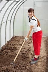 woman working with rake