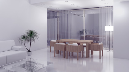 Interno con divano tavolo e finestra