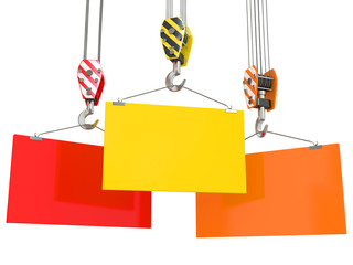 Crane hooks with empty boards. 3d