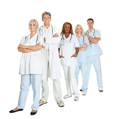 Diverse group of doctors isolated on white