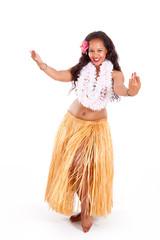 Young hula dancer dancing
